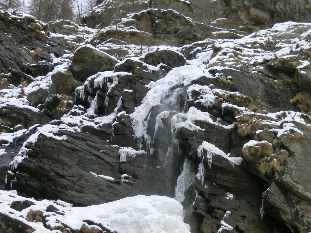 Cascata acqua bianca inverno